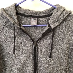 REI grey soft shell hooded full zip fleece